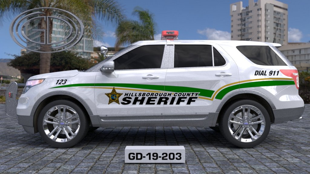 sideview design of hillsborough county sheriff car GD-19-203