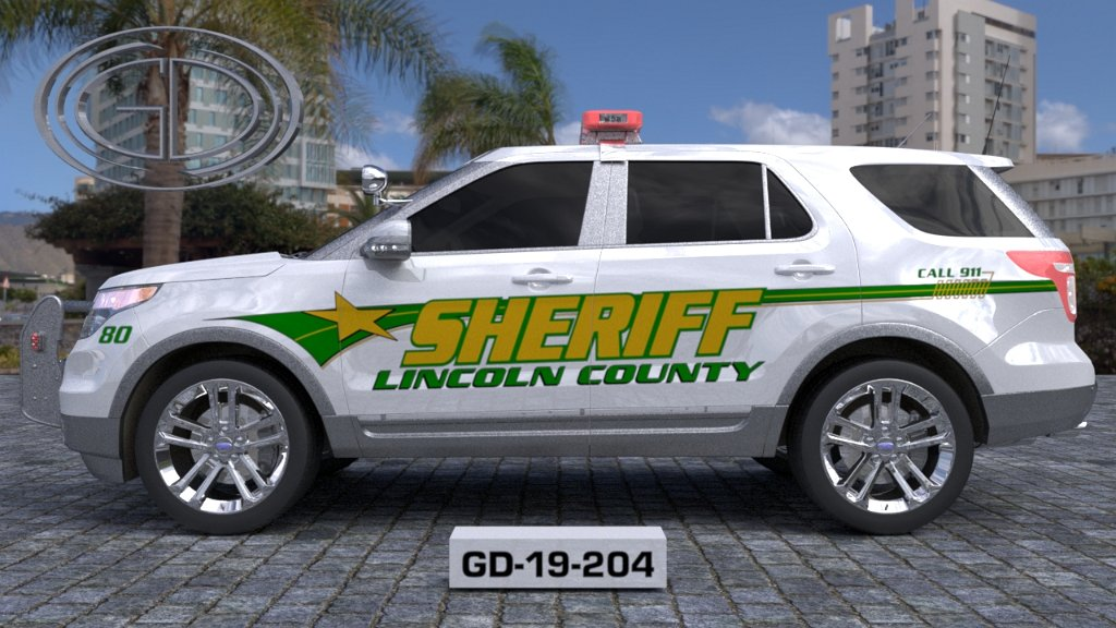 sideview design of a lincoln county sheriff suv car GD-19-204