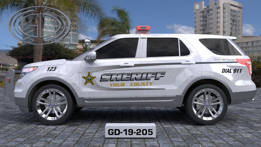 sideview design of a your county sheriff suv car GD-19-205