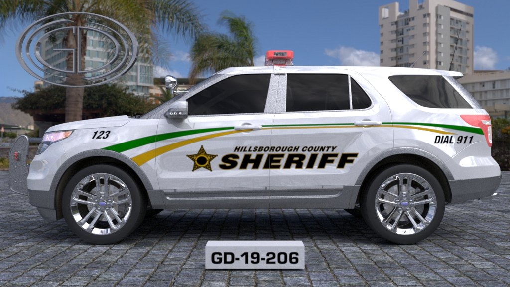sideview design of a hillsborough county sheriff suv car GD-19-206