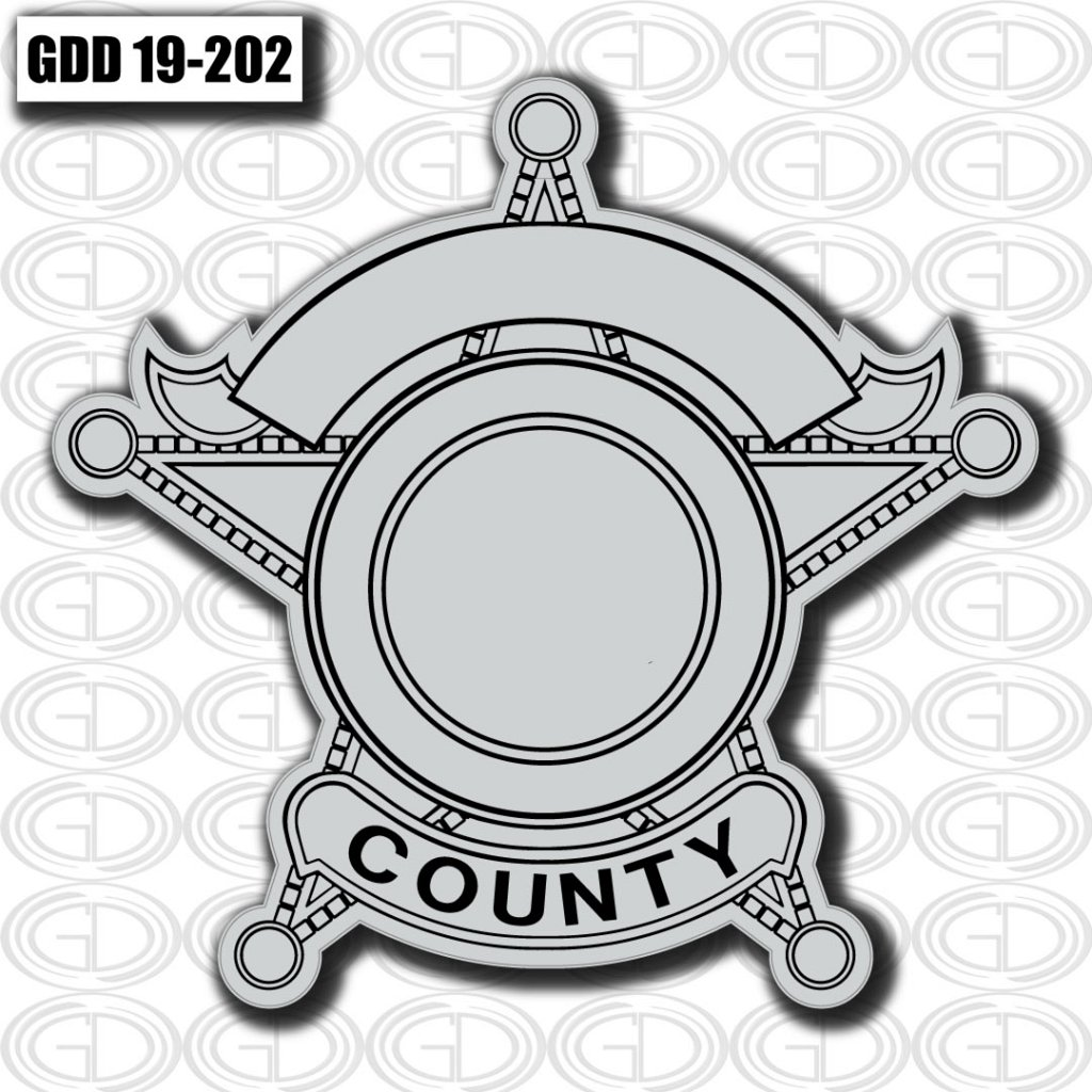 gdi sketched grey star county logo design