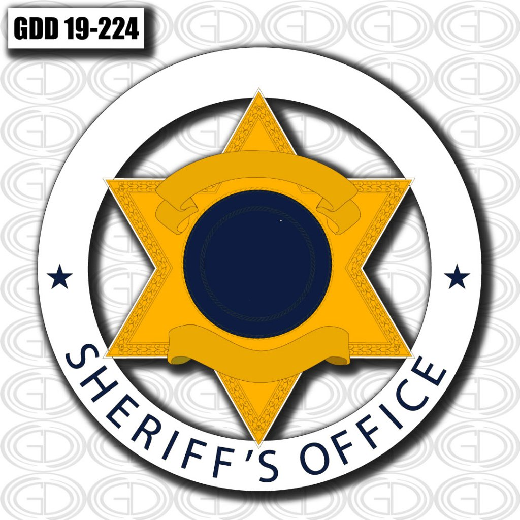 gdi sketch sheriff office logo design in a figure of star and circle