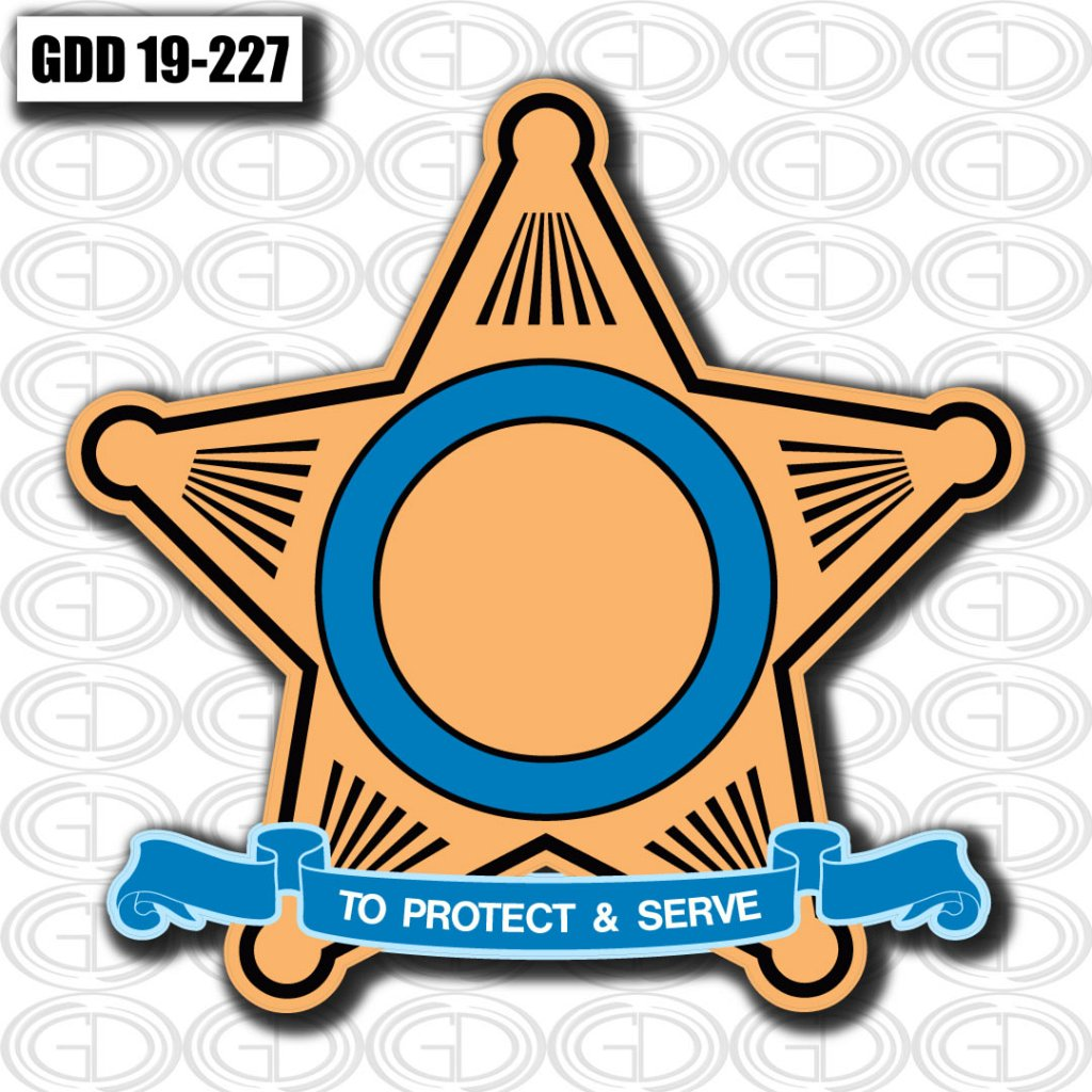 image of a star designed logo with a text 'to protect & serve'