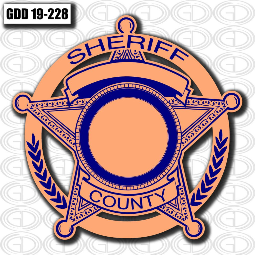 gdi sheriff county logo design in a star and nature figure