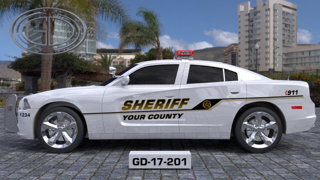 white sheriff car with gold and black design for font and line