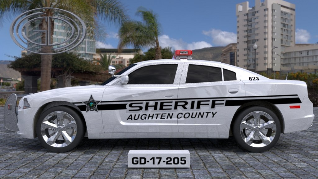 aughten sheriff white car with star logo design