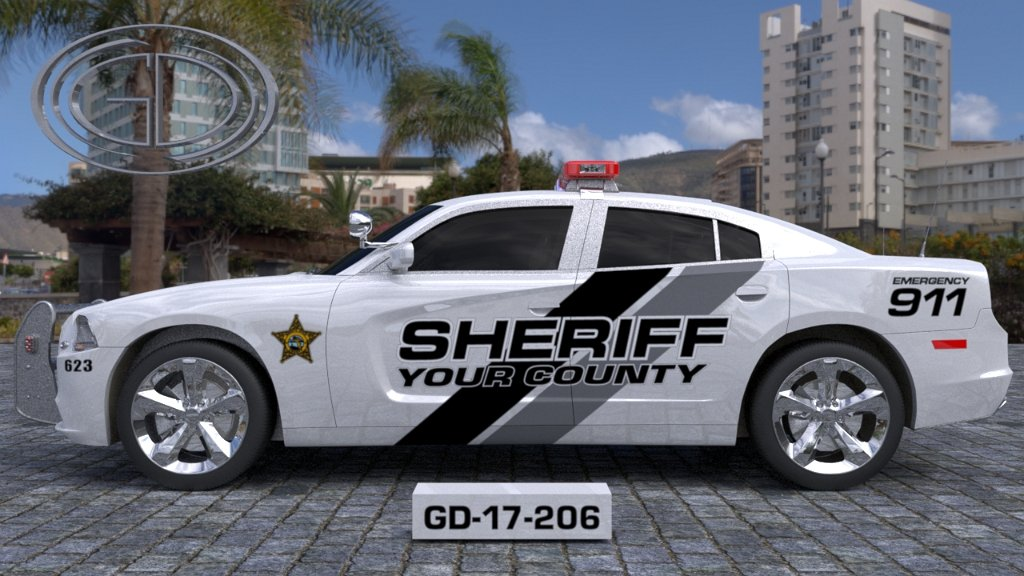 white sheriff car with black and grey line design