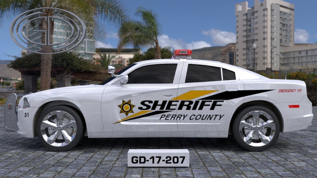 perry county white sheriff car with yellow and black line design