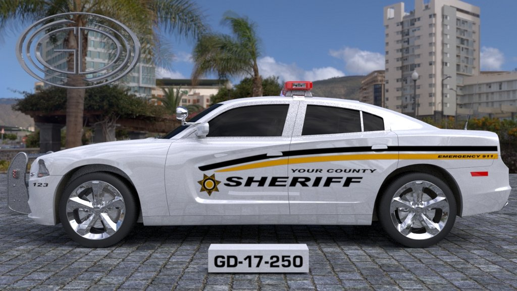 gdi designed sheriff car with black and yellow line style with star logo