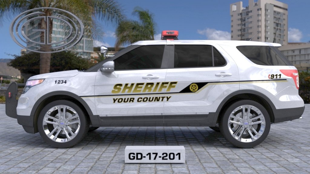 sideview design of a your county sheriff suv car GD-17-201