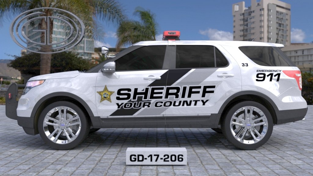 sideview design of a your county sheriff suv car GD-17-206