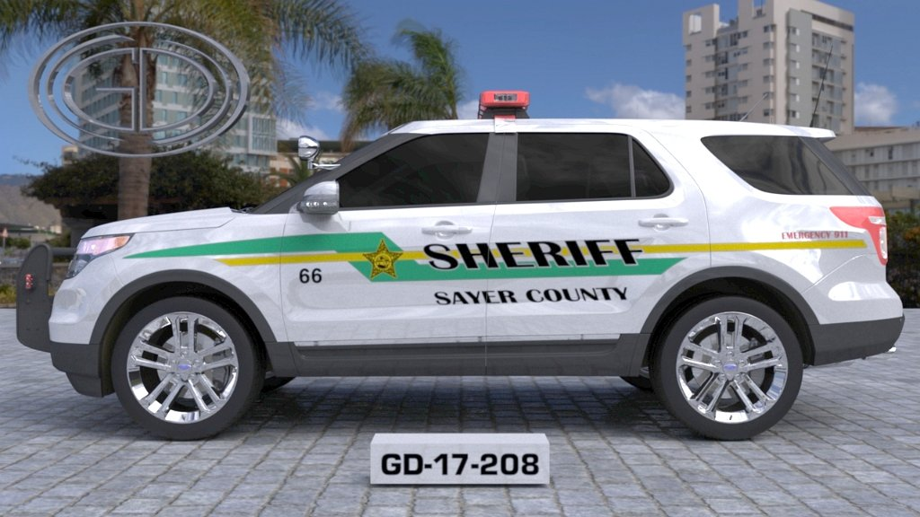 sideview design of a sayer county sheriff car GD-17-208