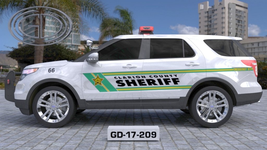 sideview design of a clarion county sheriff suv car GD-17-209