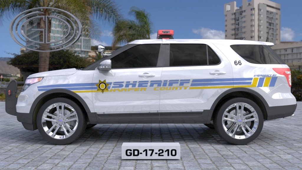 sideview design of a harper county sheriff suv car GD-17-210
