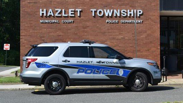 hazlet township grey police car with blue and black line design