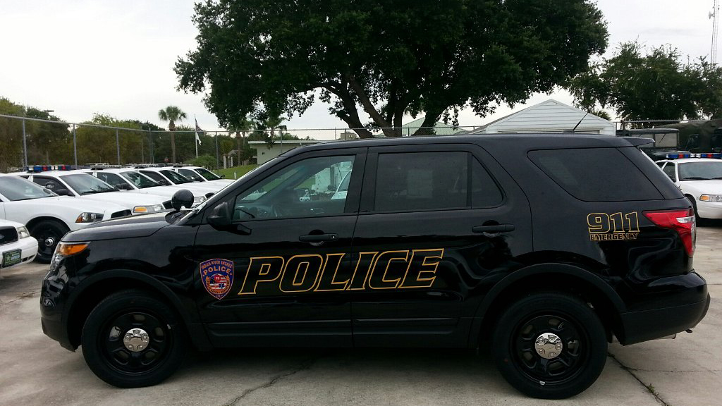 black tinted police car with logo parked in a lot