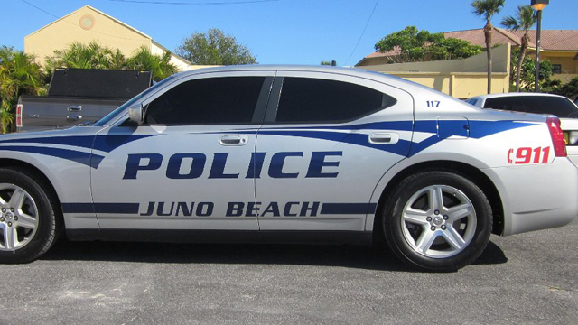 juno beach police white car with blue lines design