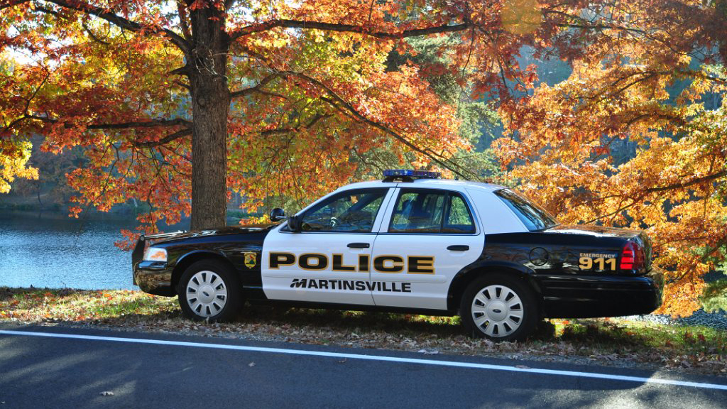 white and black police car parked near the tree