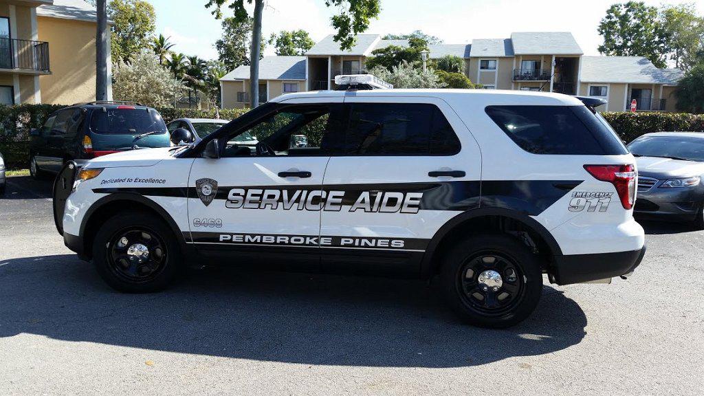 pembroke pines black and white service aide car graphic design