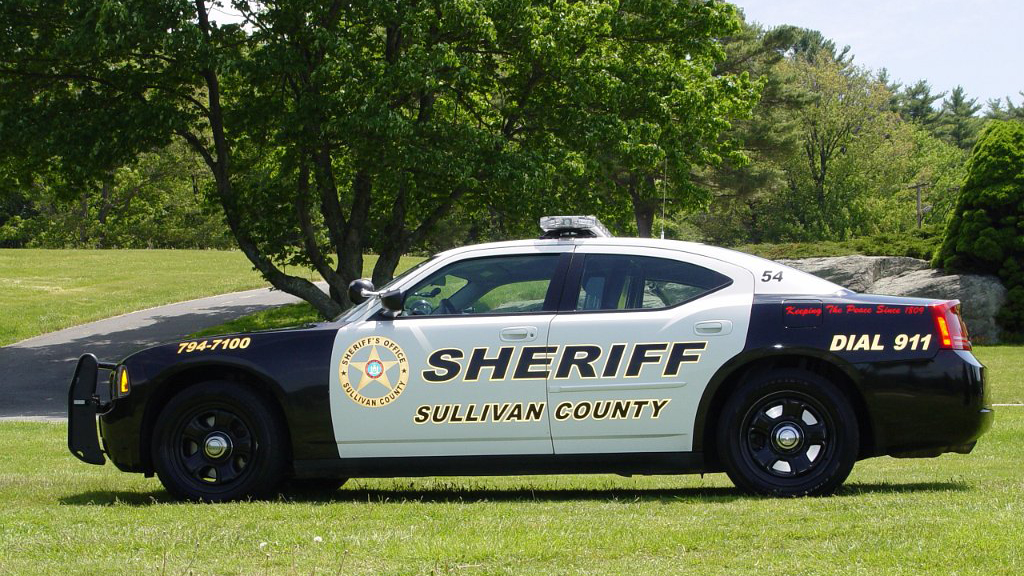 sullivan county blue sheriff car with logo design parked near the trees