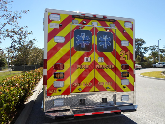 back design of the fire rescue truck