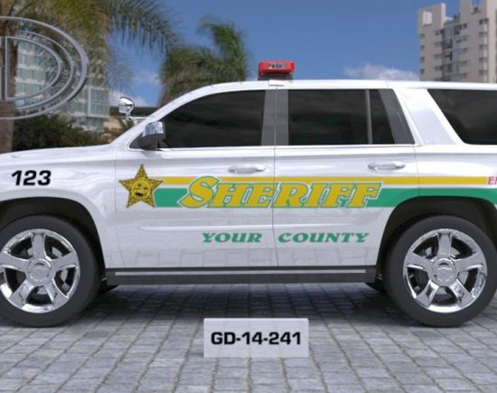 gdi design big sheriff county car with green and yellow line design